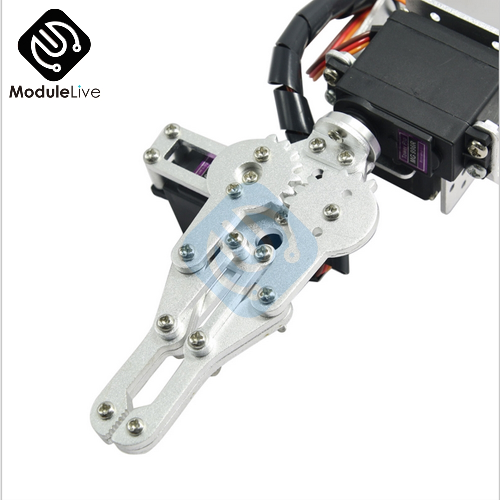 Image 4 - ROT3U 6DOF Aluminium Robot Arm Mechanical Robotic Clamp Claw for Arduino Silver-in Instrument Parts & Accessories from Tools