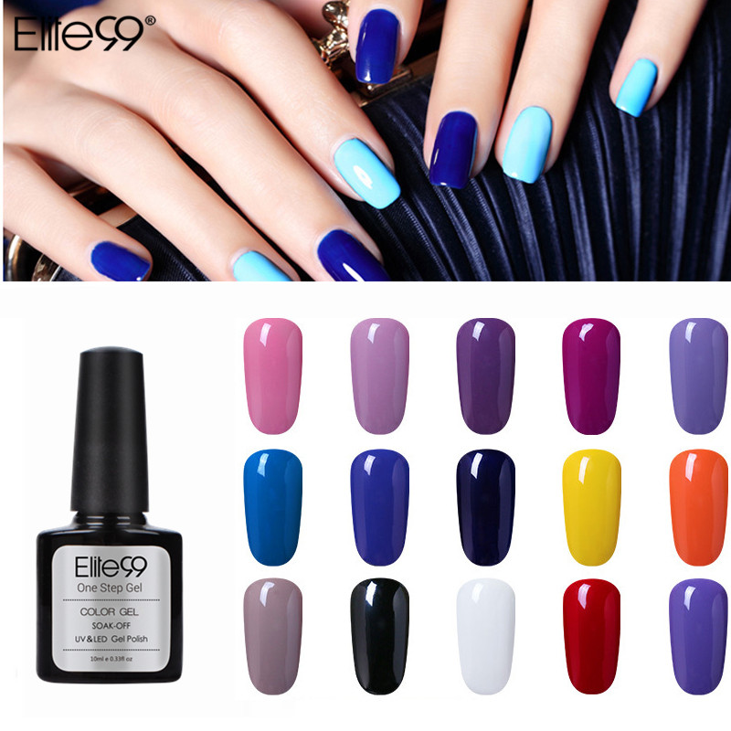 Elite99 10ml de larga duración un paso Gel Esmalte de uñas 3 en 1 Gel barnices Esmalte Uv Color Semi permanente laca de Gel sin Base superior