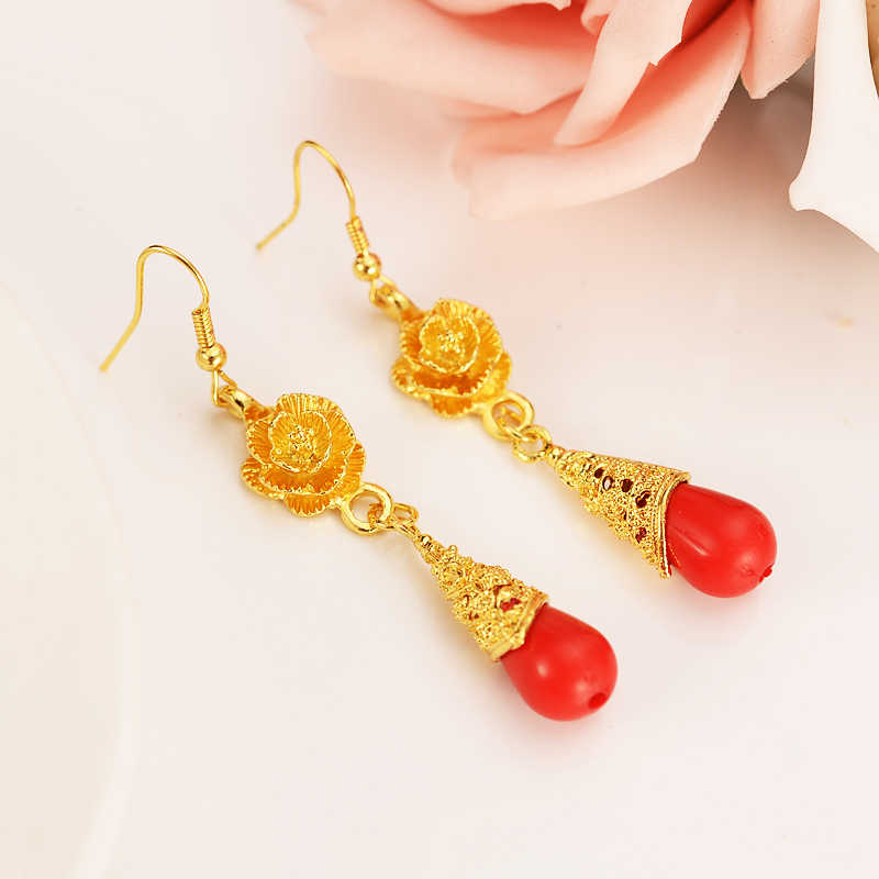 Vintage Statement Fashion Gold rose flower beads Drop Earrings For Women Accessories Earrings Jewelry Brincos girls dubai gift