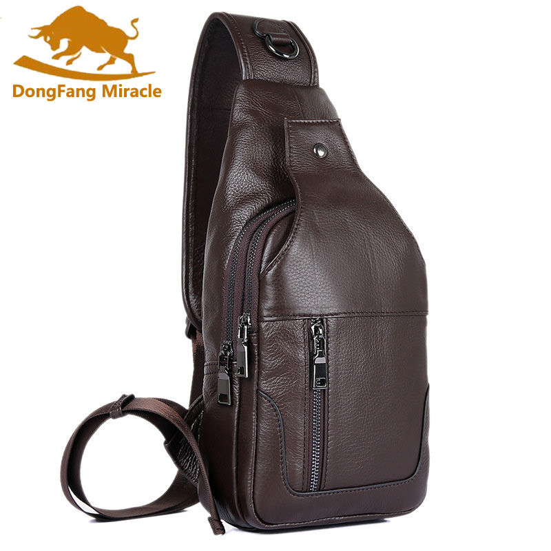 DongFang Miracle 100% Real Cow Leather Chest Bags For Mens Crossbody Sling Bag Boy's Shoulder Bag Popular Satchels-in Waist Packs from Luggage & Bags    2