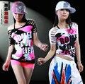 Новая Мода Марка хип-хоп лучших танец женщины Джаз ds костюм одежда производительность Женский вырез каракули выдалбливают Сексуальная футболка