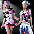 Nueva Marca de Moda hip hop superior femenina de danza Jazz ds desgaste del funcionamiento del traje Femenino recorte garabato Atractiva Ahueca Hacia fuera la camiseta