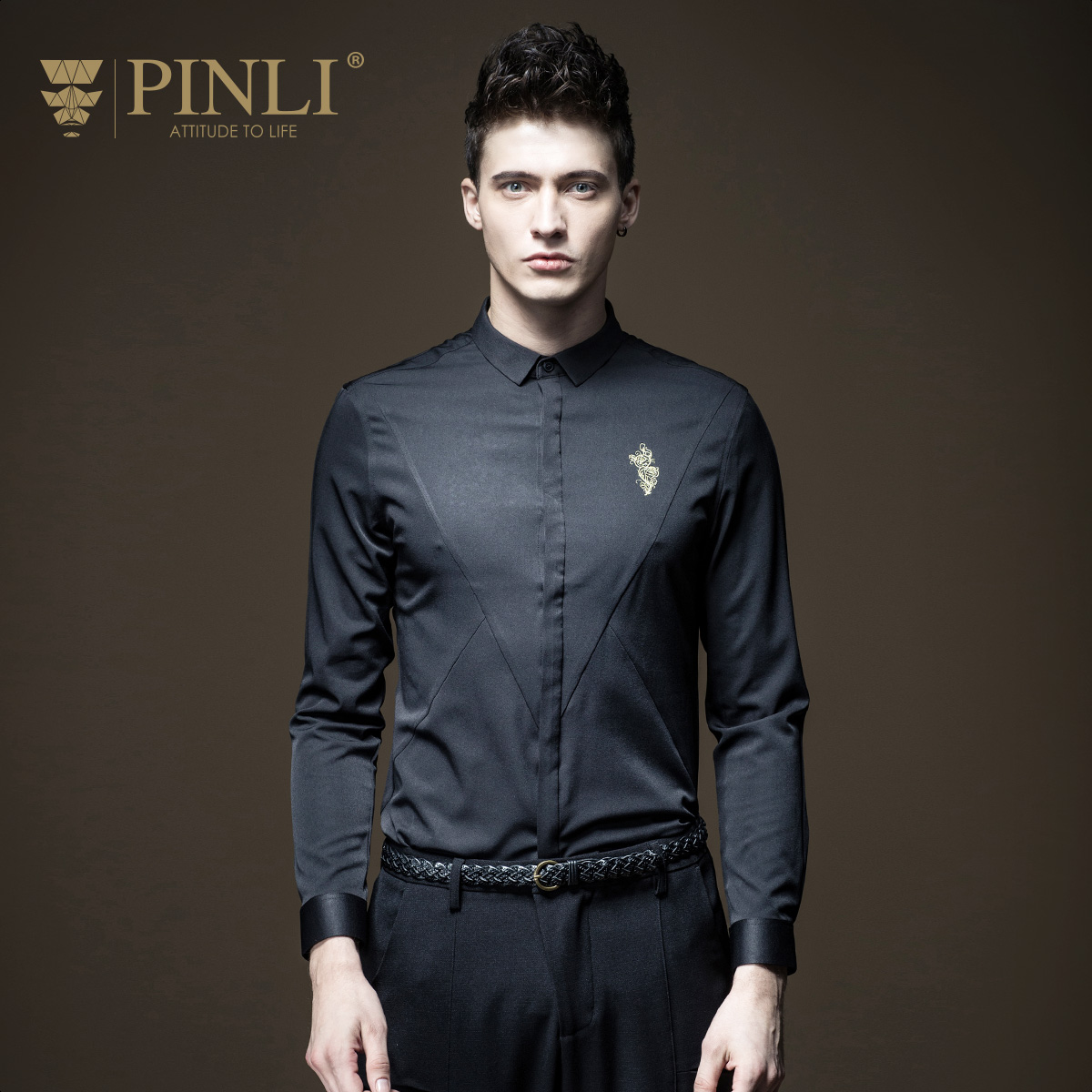Camiseta Masculina Shirt Pinli Product Made Long Sleeve Embroidered Collar Cultivate Morality Men's Business Casual B173413210