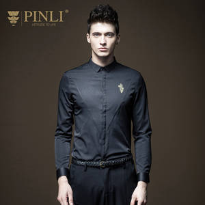 Pinli Long-Sleeve Shirt Embroidered Camiseta Collar Morality Business Casual Masculina