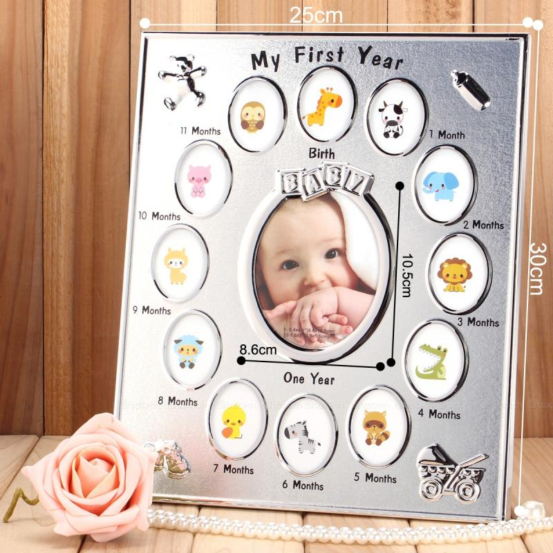 25CM*30CM Full Metal My First Year baby grow up record photo frame ...