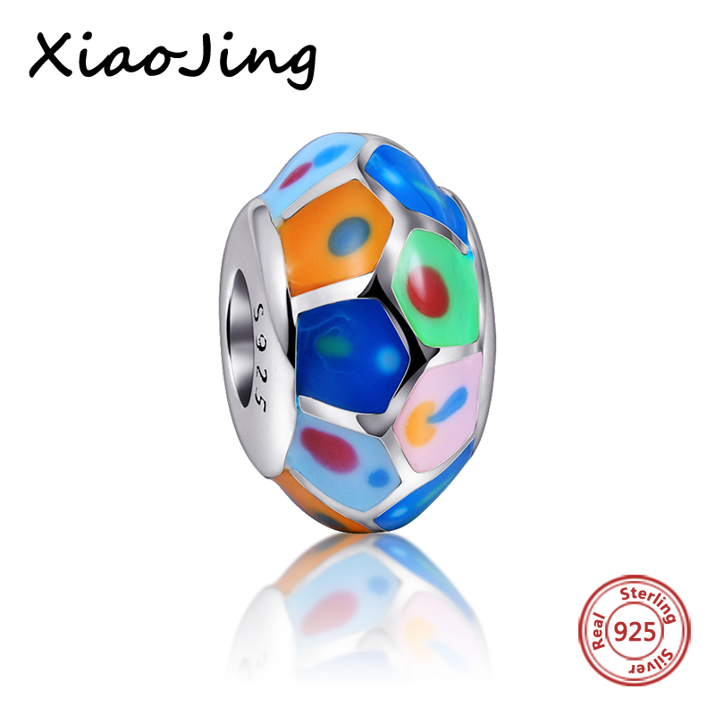 Charms Silver 925 Original Antique Colour of the rainbow Polishing Enamel Pendant Beads Fit Authentic Diy pandora Bracelet Gift in Beads from Jewelry Accessories