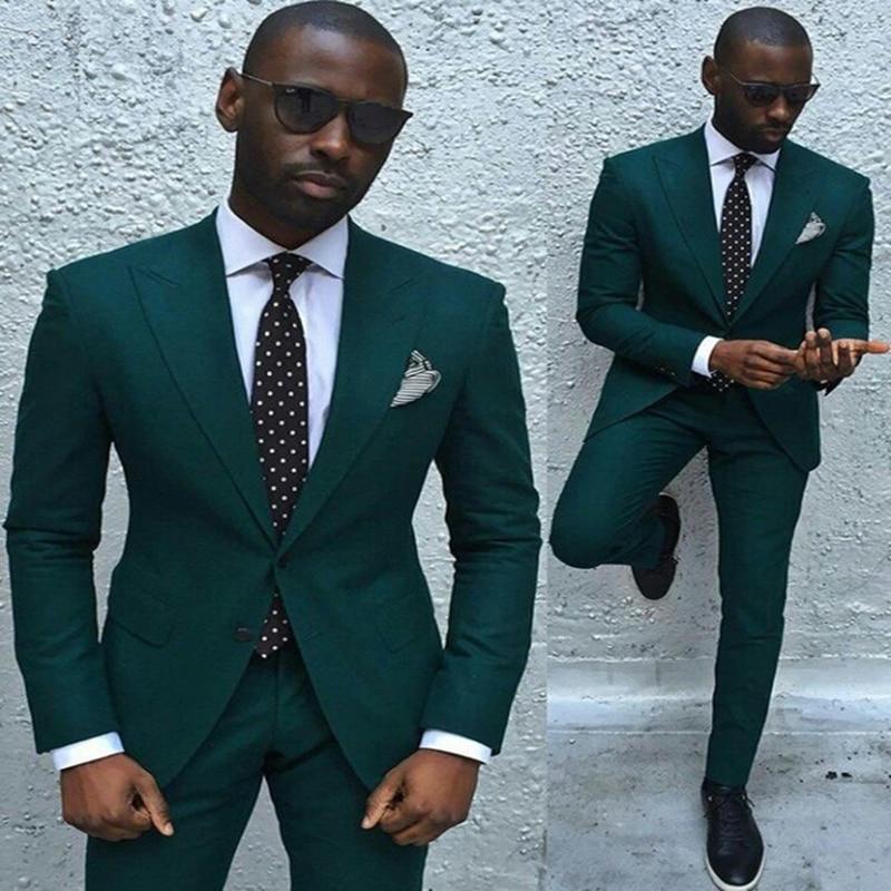 Latest Coat Pant Designs2018Tuxedos Groom Suit Dark GreenColor Suit Best ManSlim Fit Wedding Suits For Men (Jacket + Pants + Tie