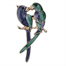 imixlot Lover Double Birds Brooches for Women Enamel Devoted Couple Brooch Parrots Pin Simulated Pearl Animal Jewelry