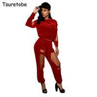 Tsuretobe Autumn Winter Velet Tracksuit Women Sexy Two Piece Set Top and Pants Velour Track Suits Female Casual 2 Piece Set