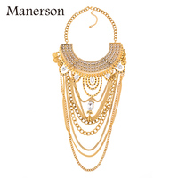 Top Brand Design Vintage Punk Gold Chain Rhinestone Necklaces Pendants Bohemian Multi Layer Long Big Maxi