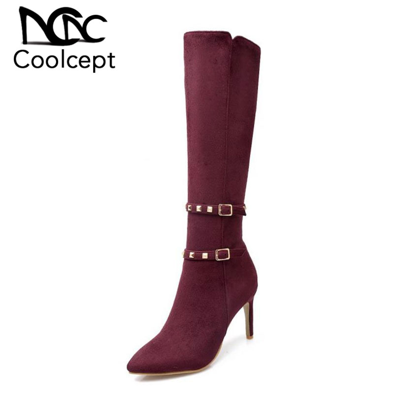 Coolcept Size 33 43 Women Long Boots Rivet Knee Boots Women High Heel Boot Warm Shoes With Fur For Winter Botas Women Footwears-in Over-the-Knee Boots from Shoes    1
