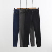 New Spring And The Wind With Pure Cashmere Waist Thick Warm Female Jeans, Thin Pencil Pants