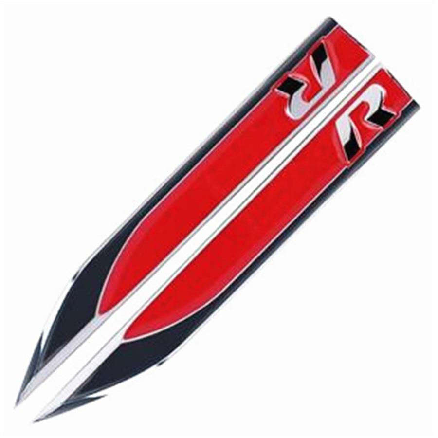 2Pcs Great Metal R Logo Car Side Fender Skirts Knife Badge Emblem Sticker For VW Golf SUV-Red