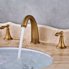 Antique Brass 3pcs Basin Faucet Widespread Bathroom Faucet Double Handles Tub Sink Mixer Tap KD1211 стоимость