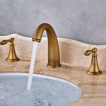 цена на Antique Brass 3pcs Basin Faucet Widespread Bathroom Faucet Double Handles Tub Sink Mixer Tap KD1211