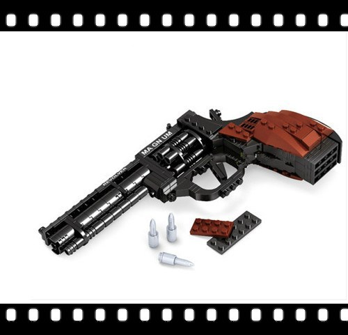 AAusini SWAT Magnum Revolver Pistol Power GUN Weapon Arms Model Assembled Toy Brick Building Blocks Sets Weapon Legoe Compatible enlighten fight inserted assembled building blocks 407 set brick black weapon compatible air gun block model pistol toy for boys