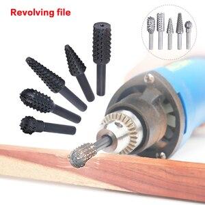 Image 3 - Lime à râpe rotative en acier pratique, tige de 1/4 pouces, lime rotative, mèches du bois, outil électrique de meulage, 5 pièces/ensemble