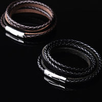 Hot Selling Handmade Braided Fashion Jewelry 60cm Genuine Leather Bracelet Men Rope Wristband Men Bracelets Bangles