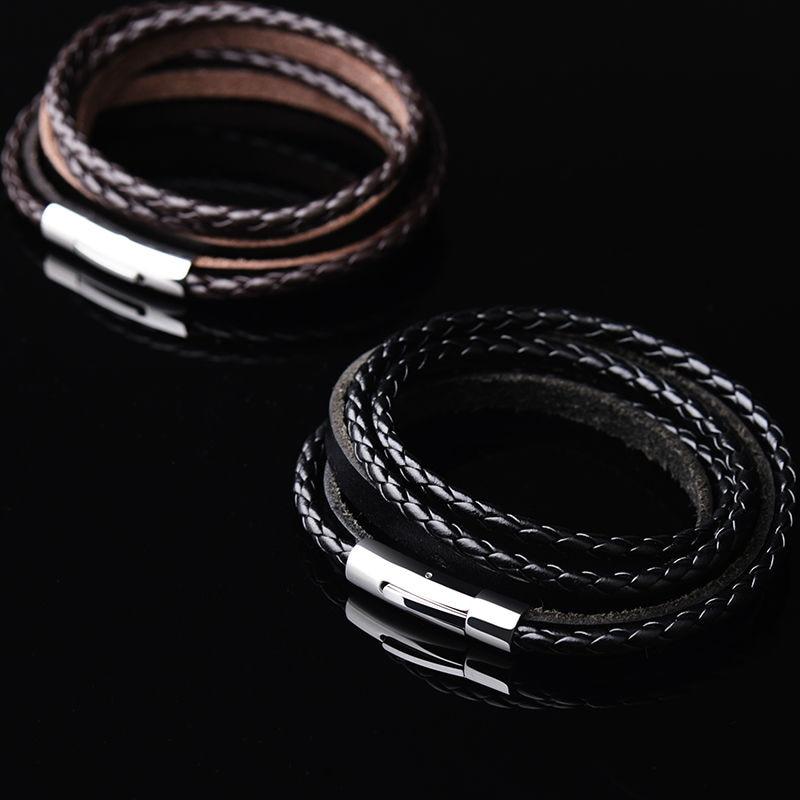 Hot Selling Handmade Braided Fashion Jewelry 62cm Genuine Leather Bracelet Men Rope Wristband Men Bracelets&Bangles Free Shpping