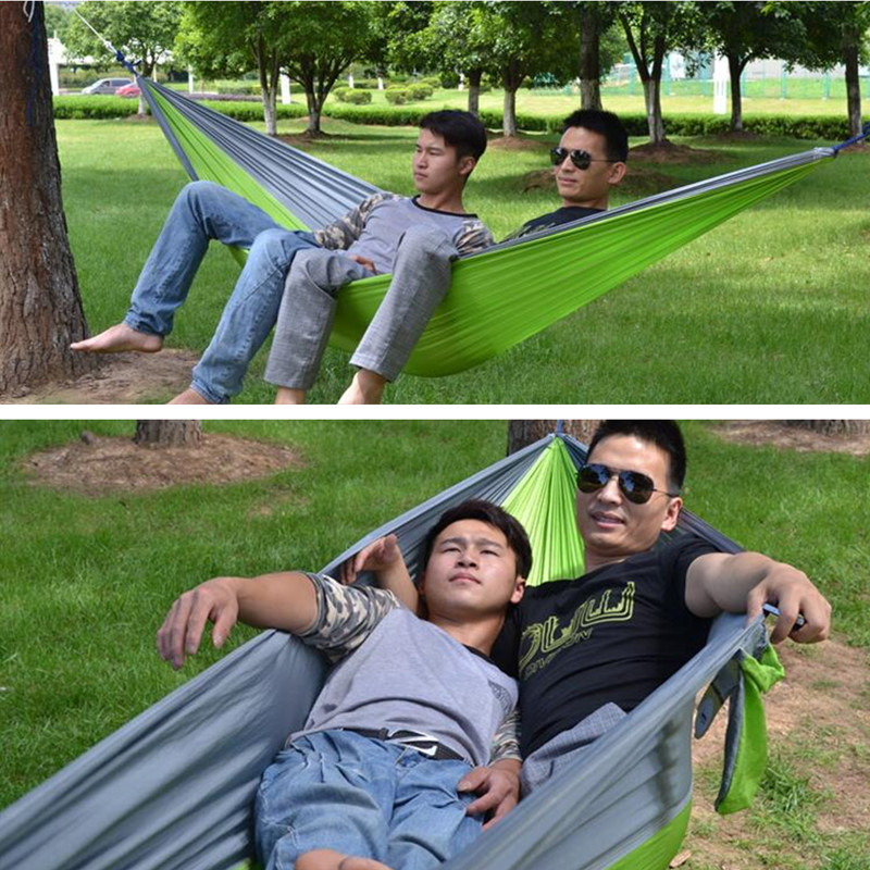 2017 Double Person Portable Hammock Hanging Swing Sleeping Bed Parachute Cloth Survival Garden Flyknit Hunting H148 цены онлайн