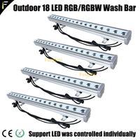 4 unidades/lote carcaça robusta projectores tingimento lavagem da parede do teto 18x4w leds rgbw 4in1 barra de luz 1 metro de comprimento para mostrar ao ar livre