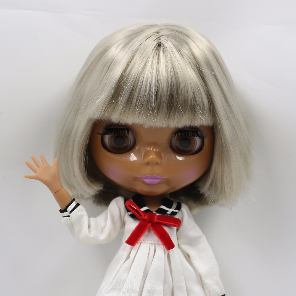 Neo Blythe Doll with Grey Hair, Dark Skin, Shiny Face & Jointed Body 3