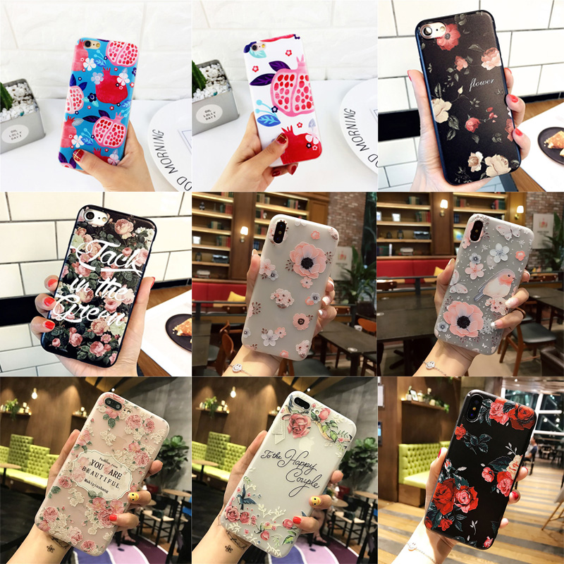 3D relief Flower Luxury phone Case for iPhone 6 6S 7 Plus TPU Silicone Rubber Soft Cover Case for iPhone 8 Plus X 5 5S 5c SE