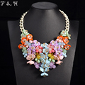 maxi necklace women party jewelry colorful flower necklace Chunky chain vintage collar party jewelry boho statement chokers