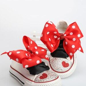 Image 1 - Dollbling zapatos de lona para niños, zapatillas deportivas infantiles de punta de mano personalizada con lazo de encaje y diamantes, informales de lona baja
