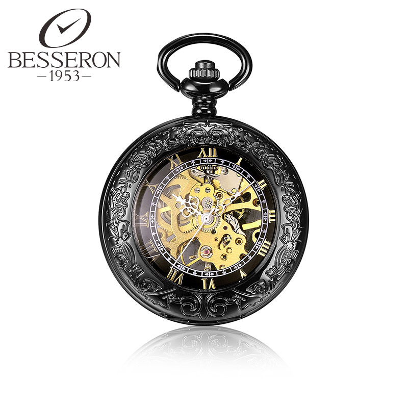 Steampunk Clockwork Mechanical Pocket Watch Vintage Clock Pendant Black Chain orologio da tasca Antique