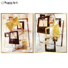 100% Hand Painted Modern Square Abstract Oil Painting on Canvas for Living Room Wall Decor Rectangle Picture