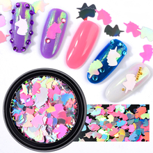 New 1 Box Mixed Colorful Unicorn Nail Glitter Sequins Ultra-thin paillette nail art Flakes Charm Laser polish decorations