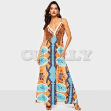 Cuerly Summer 2019 Strap Dress Women Boho Casual Print Tassel Backless Trip Loose Swing Ladies Sexy Deep V Beach Maxi Dresses