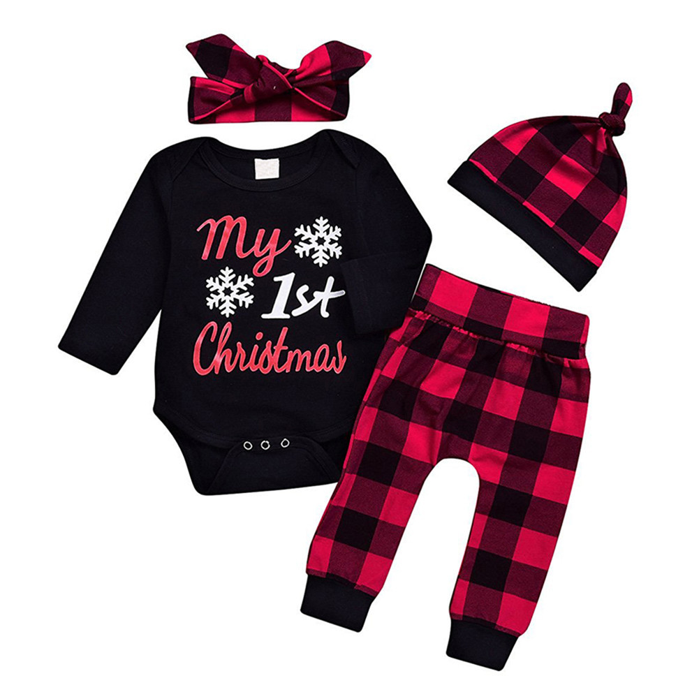 GRNSHTS 3pcs/set Cute Newborn Clothing Set Baby Boy Girls First Christmas Clothes Infant Romper Pants Hat Outfit
