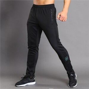 Image 5 - Nefes bisiklet koşu pantolonları erkek spor Joggers koşu pantolon Zip cep eğitim spor pantolonları koşu tenis futbol