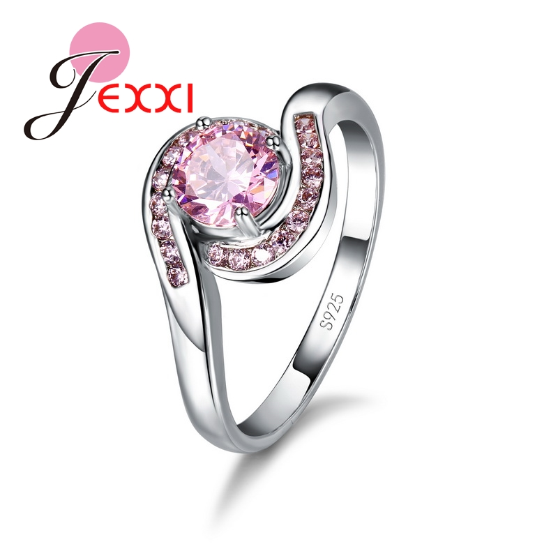 New Design Pink Cubic Zirconia Ring Fashion 925 Sterling Silver Women Wedding Engagement Party Jewelry Sweet Lover Gift