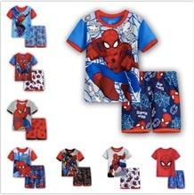Spiderman Super Hero Spider man Crianças Conjuntos de Pijama de Algodão de Mangas Curtas T-shirt + Calças Meninos Sleepwear Conjuntos Casuais SA1385