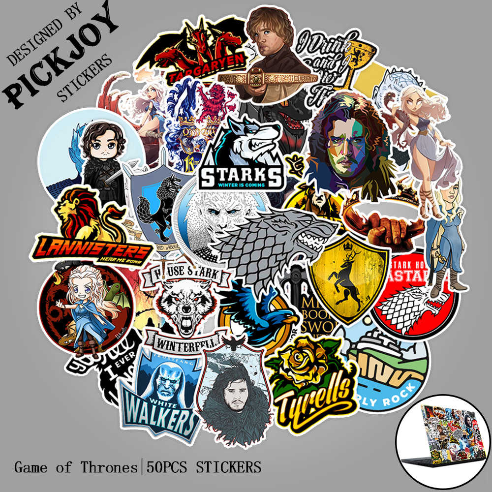 50pcs/Pack Cartoon Game Of Thrones Stickers New War TV Series For Stickers Luggage Laptop Skateboard Phone Pad Pvc Toy Stickers