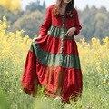 Spring Autumn Dress Women Bohemian Long Maxi Dresses Cotton Linen Shirt Dress Country Style Floral Patchwork Vestidos Robe Jurk