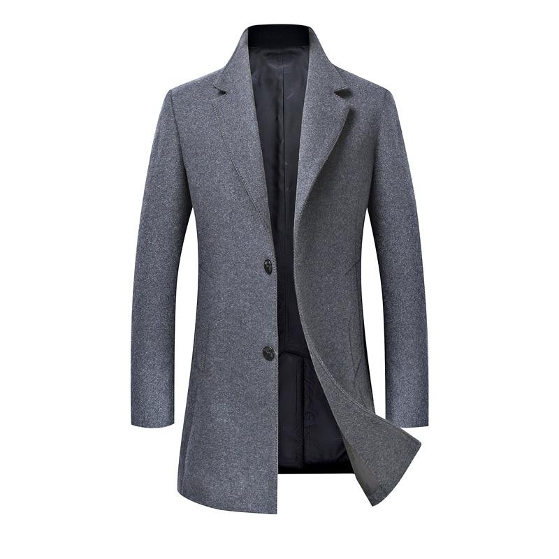 Coat Men Jacket Business Male Men's Winter Fashion Casual New Wool for Windbreaker Slim-Fit