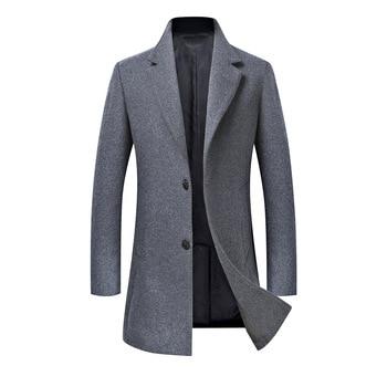 New Men's Woolen Jacket Coat Men Slim Fit Business Trench Coat Casual Wool Overcoat for Winter Fashion Windbreaker Jacket Male
