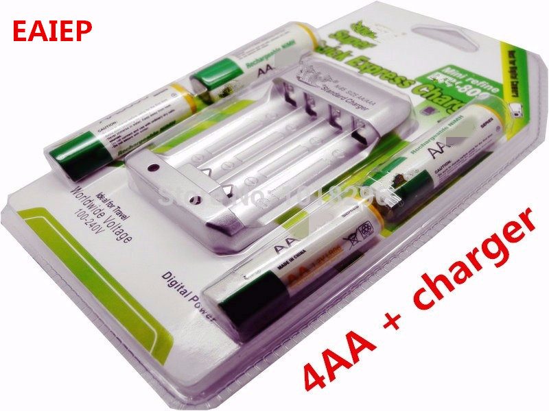 High Quanlity Rechargeable Battery AA 4 X NI MH 1 2V 2A With Standard Battery Charger