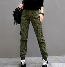 Cargo pants for women plus size elastic waist solid colour black green red high waist autumn spring cotton casual pants jdd0601
