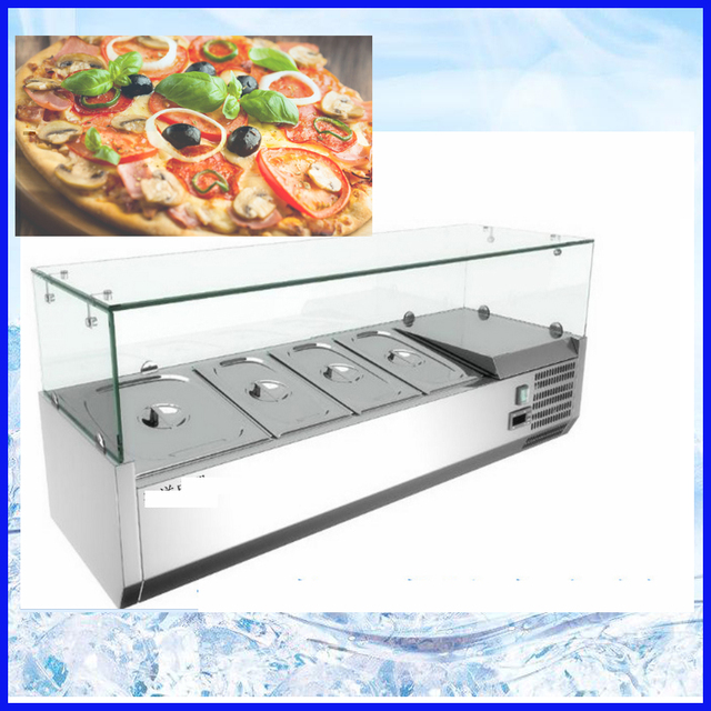 Good Finishing Stainless Steel Direct Cooling System Refrigerated Desktop/salad  Bar Counter Top Display Cabinet