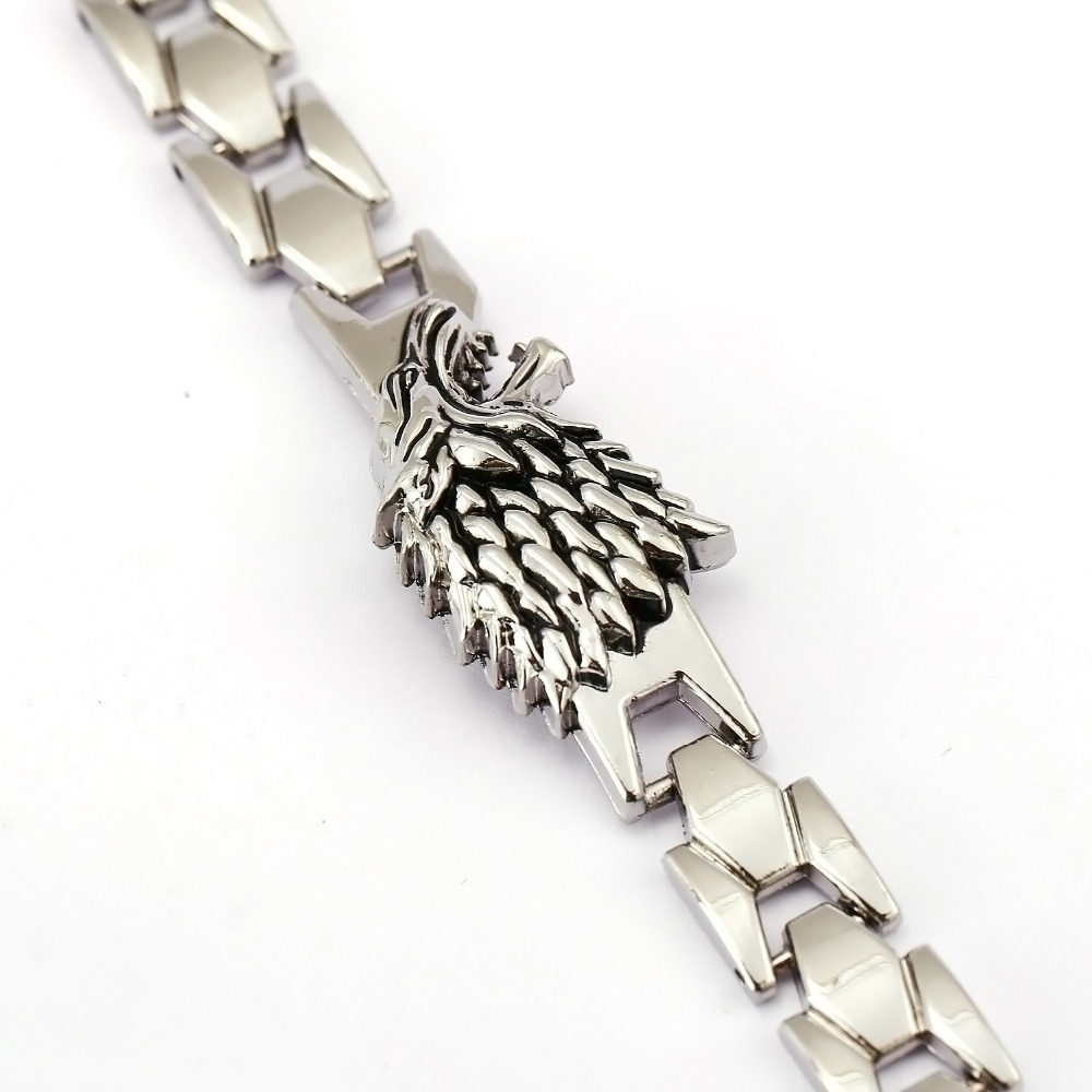 Game Of Thrones Bracelet Song Of Ice Fire Stark Chain Link Charm Bracelets  Bangle Cosplay Jewelry Men Women Pulseira Masculinain Chain & Link  Bracelets