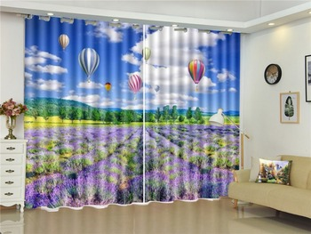 Wholesale curtain Romantic Hot Air Balloon Flying In The Blue Sky Living Room Bedroom Beautiful Practical Blackout Curtains