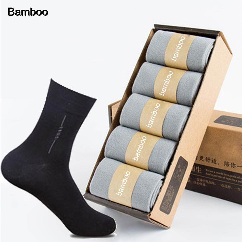New Style Men Bamboo Fiber Socks High Quality Casual Breatheable Anti-Bacterial Man Long Dress Socks Wholesale 5 Pairs/lot 2019