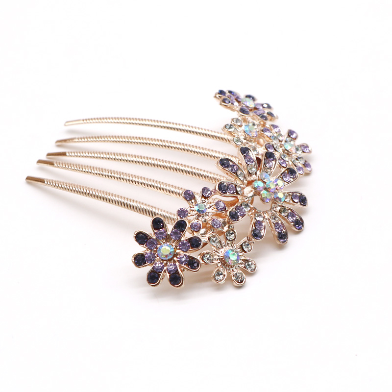 1pcs Fashion Crystal Flower Hairpin Metal Hair Clips Comb Pin For Women Female Hairclips Hair Comb Hair Accessories Styling Tool #4