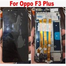 Oppo f3 plus lcd 디스플레이 + 터치 스크린 디지타이저 어셈블리 (프레임 교체 부품 포함) 용 원래 품질 흑백 6.0 인치