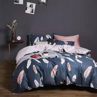 2019 Brief Feathers Dark Grey Egyptian Cotton Bedding Set Queen King Size Bedlinens Flat sheet Duvet Cover Set|Bedding Sets| |  -